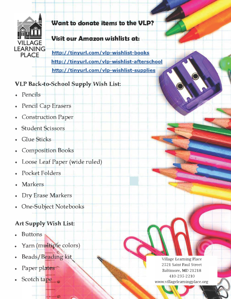 School Supplies Donation Drive « Village Learning Place