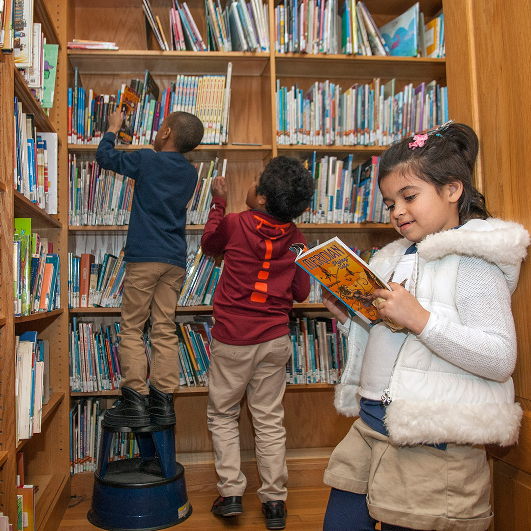 Children-Exploring-Library